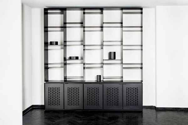 metal library black display shelving