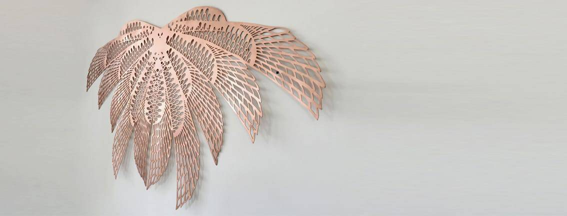 brass pink gold metal wall art jewel
