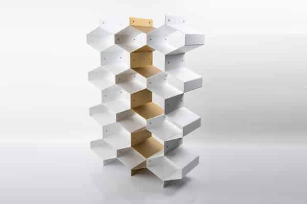 made.com honeycomb shelving unit beehive gold