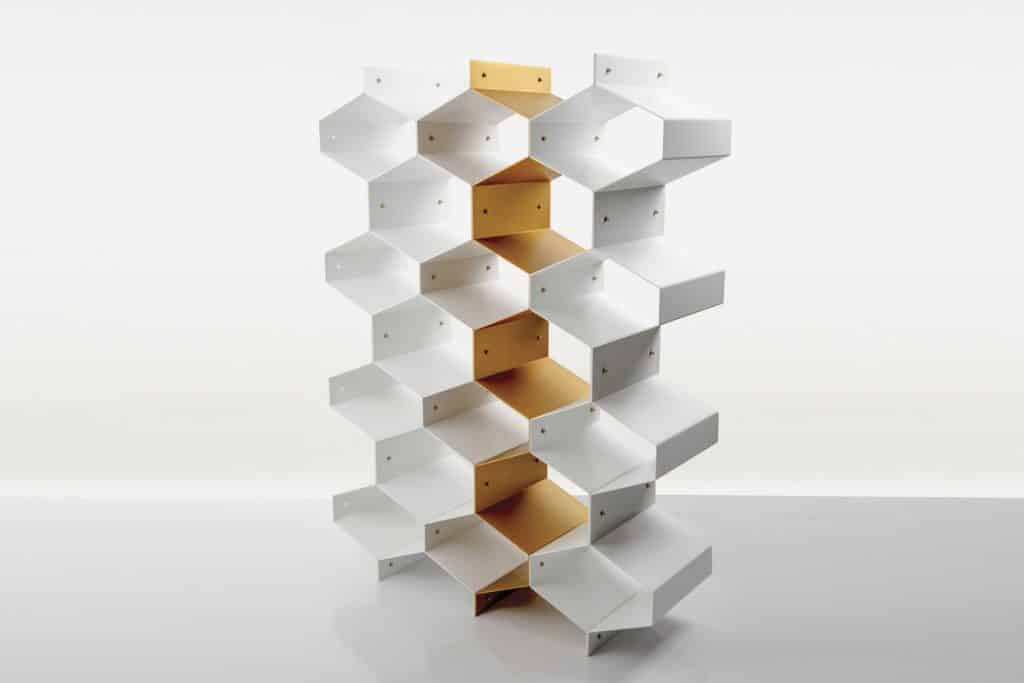 made.com honeycomb shelving unit beehive gold metal
