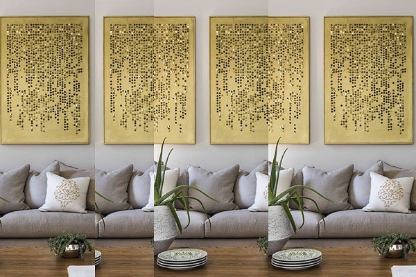 copper gold metal art wall