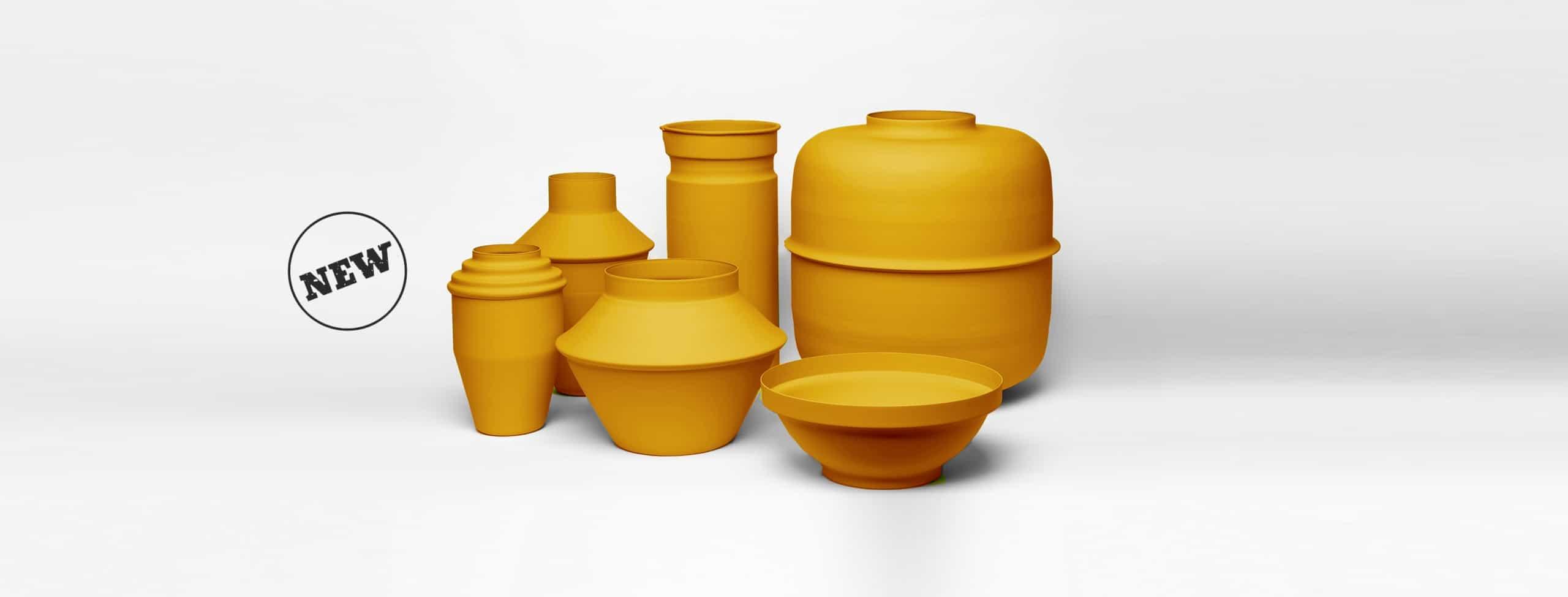 עציץ קקטוס כדים כדי מתכת בצבע חרדל צהוב